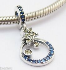 MOON AND STARS DANGLE CHARM Bead Sterling Silver.925 for European Bracelets 750