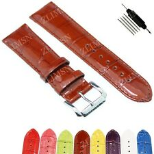 Brown Genuine Leather Watch Band Strap Christmas Wirstwatch Silver S Buckle 20mm