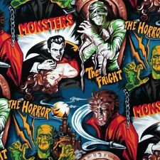 FRIGHTFUL SCARY, MOVIE MONSTERS, Robert Kaufman,  1 Yard Cotton Fabric