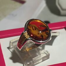 Genuine Russian Vintage Baltic Amber Ring Butterscotch Egg Yolk Silver Size 7