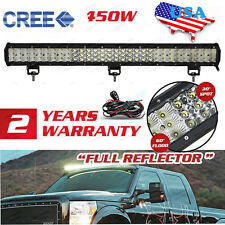 "TRI-ROW CREE 450W 28""inch LED Work Light Bar FLOOD SPOT Offroad Pickup SUV 4WD"