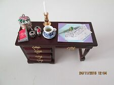 Dolls House Ladies Desk with Accessories.