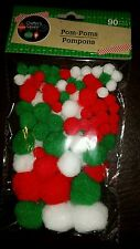 Assorted sizes Christmas pom poms 90 count package, green, white, red