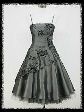 dress190 GREY 40/50s FLOCK TATTOO ROCKABILLY COCKTAIL PARTY PROM DRESS UK 16-18