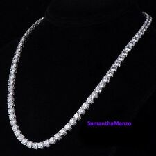 "20"" Round Brilliant Cut Signity CZ Cubic Zirconia Graduated Tennis Line Necklace"
