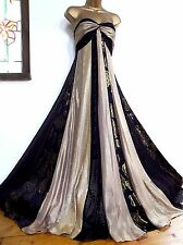 MONSOON ✩ STUNNING RHEA SILK & SEQUIN BLACK & GOLD MAXI EVENING DRESS ✩ UK 14 ✩