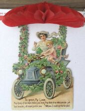 Victorian Edwardian Die Cut Honeycomb Touring Car Cherub Gibson Girl
