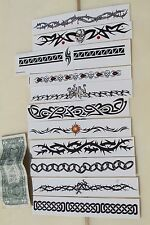 Removable Temporary TATTOOS Skulls Chains Thorns Barbed Wire Tribal - LOT of 11