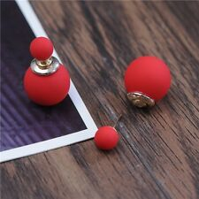Fashion Gold Pld Candy Color Double Pearl Elegant Stud Girls Earrings Red 23#
