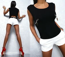 FAMOUS SOMMER SUPER FASHION SEXY FIT TOP SHIRT G38 BLACK HEMD BLUSE BLOUSE S/M