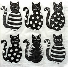 4 x Vintage Table PAPER NAPKINS / CRAFT/ CATS BLACK / FOR DECOUPAGE TEA PARTY