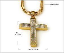 """Men's Gold Iced Out Bling Cross Pendant Hip Hop 29"""" Inch Cuban Necklace Chain"""