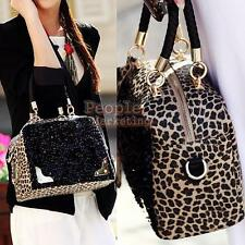 Women Leopard Handbags Bags Leather Shoulder Tote Crossbody Bag Hobo Handbag #P