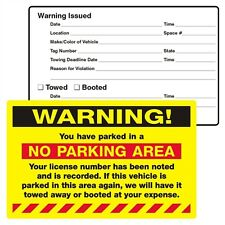 Pack of 50 Yellow WARNING! NO PARKING AREA Towing Auto Car Sign Sticker 2055y