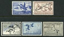 1952-56 SIGNED FEDERAL DUCK HUNTING STAMPS RW19-23