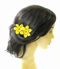 2 x Daffodil Flower Hair Pins Yellow Orange Spring Bridesmaid Clip 1950s 1473