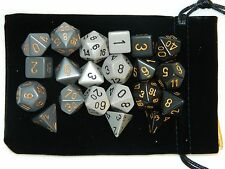 New 7 Piece Chessex Dice Sets Lot of 3 Gray Black Polyhedral With Large Bag RPG