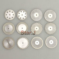12pcs Diamond Polishing Wheel Saw Disc Rotary Dental Ceramic Plaster Resin Cut