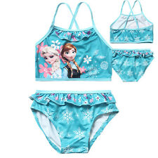 Hot ! New Kids Girls Frozen Elsa & Anna Blue Swimwear Tankini Swimsuit S(4y-5y)