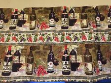 French Wine Bottole Grape Glass Bottle Kitchen Bedroom Window Valance Decor