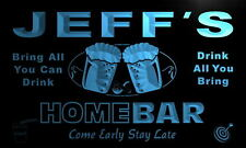 p118-b Jeff's Personalized Home Bar Beer Family Name Neon Light Sign