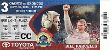 2013 NEW YORK GIANTS VS DENVER BRONCOS COACHES CLUB TICKET STUB 9/15 MANNING