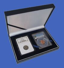 Display Box NGC/PCGS/Premier/Lil Bear Coin Two 2 Slab Guardhouse Leatherette