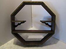 """Antique Art Deco Shadow Box Wood Wall 4 Shelf Walnut Curio Display octagonal 18"""""""