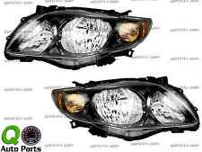 New Pair Set Headlight Headlamp Lens Black Housing DOT 09-10 Toyota Corolla