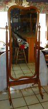 Birdseye Maple and Curly Maple Beveled Cheval Mirror