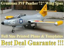 """Grumman F9F Panther 72"""" WS 1/6 Giant Scale RC Airplane PRINTED Plans & Templates"""