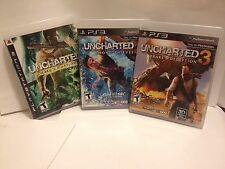 Uncharted 1,2,3 Game Lot (PlayStation 3) MINT COMPLETE, Adult owned ! USA SELLER