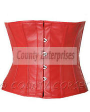 Cincher Shaper Taillen Waspie Full Steel Boned Waistbust Real Red Leather Corset