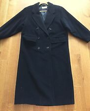 Max Mara Black Wool Double Breasted Long Coat Sz US 4 IT 38