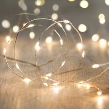 100 Warm White Micro LED Silver Wire Xmas Wedding Indoor Fairy String Lights