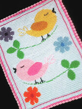 BIRDS AND FLOWERS Color Graph Baby Afghan Pattern
