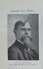 Union Civil War Era General Lewis Wallace Obituary Author of Ben Hur 2-15-1905