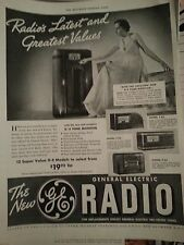 1937 General Electric Radio Tone Monitor Original PRint Ad