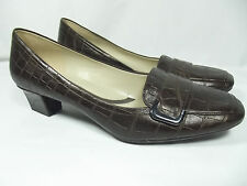 Naturalizer N5 Comfort Farrel Womens 11 Brown Leather Croc Pattern Loafers Heels