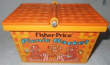 Fisher Price Fun Teddy Bear Picnic Basket 677~NO HANDLE~Pretend Play VTG Toy '74