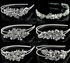 BRIDAL HEADBAND WEDDING HAIR COMB DIAMANTE CRYSTAL PEARL VINTAGE SLIDE TIARA