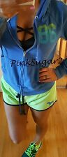 Victoria's Secret Pink Neon Green Blue Hoodie Shorts Set Ombre Logo Outfit M
