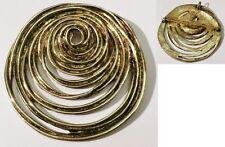 broche pendentif rétro cercle relief ajouré bijou vintage couleur or *3646