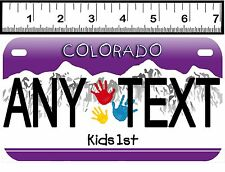 PERSONALIZED ALUMINUM MOTORCYCLE STATE LICENSE PLATE-COLORADO KIDS FIRST
