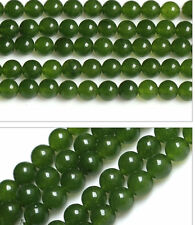 "Genuine 8mm Natural Green Jade Round Gemstone Loose Beads 15"" Strand AAA"