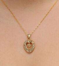 JoliKo Anhänger Medaillon Herz Kreuz Kette Kristalle Weiß Gold Follow the heart