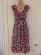 Lovely Monsoon brown lined sleeveless dress pink and white floral pattern, UK 12