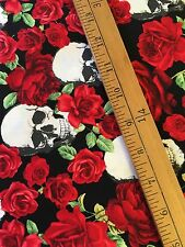 Timeless Treasure cotton fabric Skulls And Roses Halloween FQ Goth