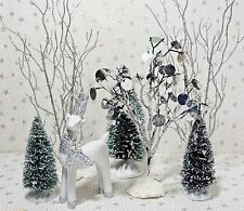 Lemax Sisal Bottle Brush Trees Snow Glitter Deer Christmas Village Accessory Lot