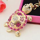 Women Fashion Crystal Rhinestone Tortoise Keyring Charm Pendant Purse Key Chain